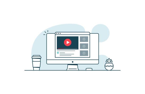 video-service-konzept. computer mit browser öffnen und video-player. vektor-illustration in kunst linienstil - film oder fernsehvorführung stock-grafiken, -clipart, -cartoons und -symbole