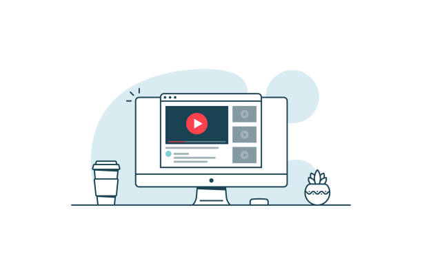 Video service concept. Computer with open browser and video player. Vector illustration in line art style Video service concept. Computer with open browser and video player. Vector illustration in line art style performing arts event stock illustrations