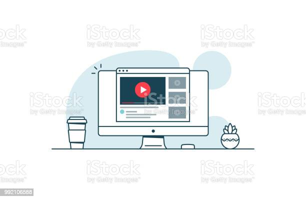 Video Service Concept Computer With Open Browser And Video Player Vector Illustration In Line Art Style Stock Illustration - Download Image Now