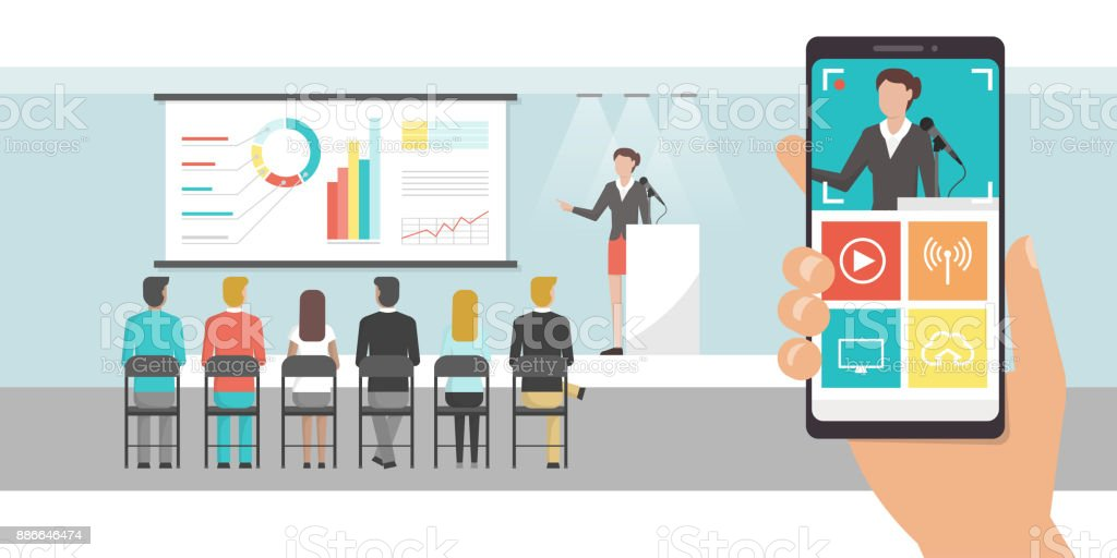Video shooting and streaming app vector art illustration