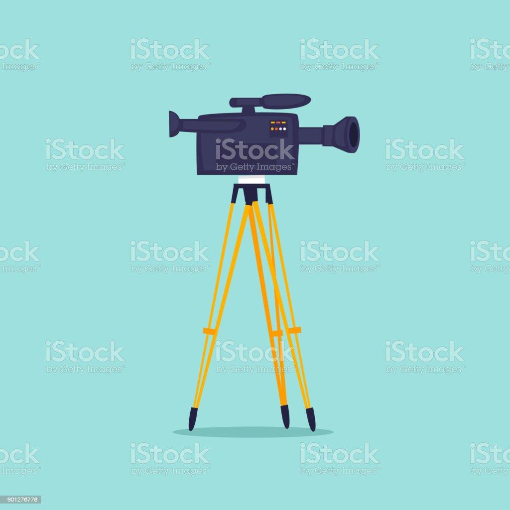 Video shooting, camera on a tripod. Flat design vector illustration. vector art illustration