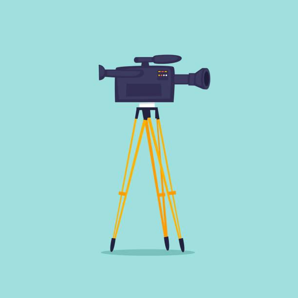 Videodreh, Kamera auf einem Stativ. Flaches Design-Vektor-Illustration. – Vektorgrafik