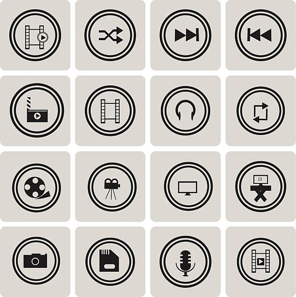 Video-Schwarz icon-set2.  Vektor-Illustration eps10 – Vektorgrafik