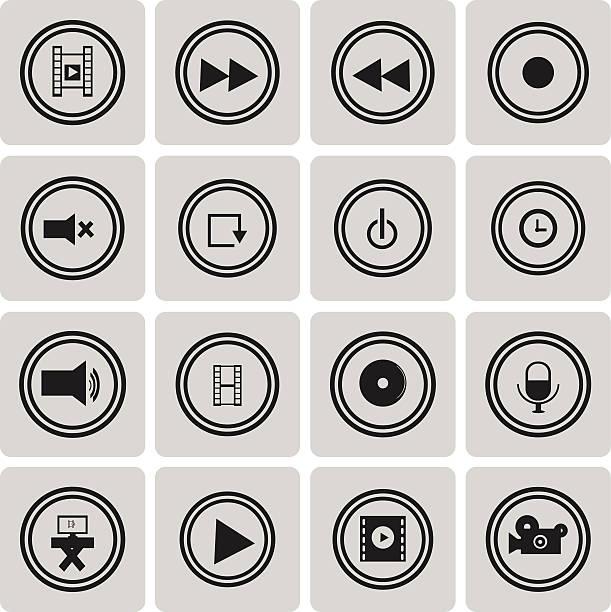 Video-Symbol Schwarz icon set3 zu wechseln.  Vektor-Illustration eps10 – Vektorgrafik