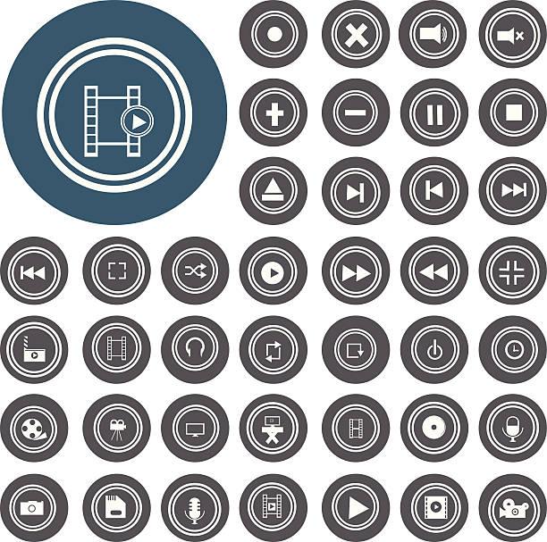 Video-Benutzeroberfläche für web-icons set.  Illustration eps10 – Vektorgrafik