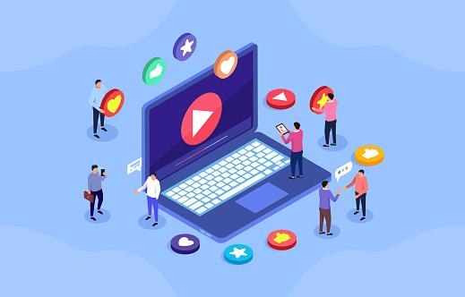Video social media business concept