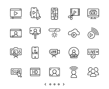 Video streaming and live line icons set