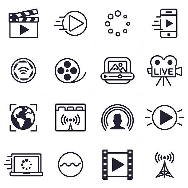 ilustrações de stock, clip art, desenhos animados e ícones de streaming de vídeo ícones e símbolos - video