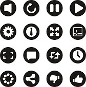 Video Streaming Icons Black Circle Series Vector EPS10 File.