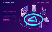 Video streaming isometric landing page, digital gadgets connected via cloud storage system around of play button on neon glowing background. Internet movie service 3d vector illustration, web banner