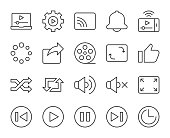 Video Streaming Light Line Icons Vector EPS File.