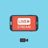 Video streaming on mobile phone.Vector illustration