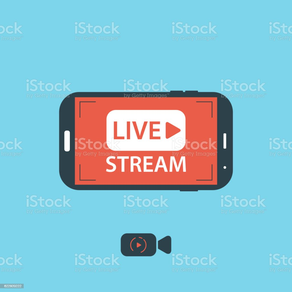 Video streaming on mobile phone.Vector illustration vector art illustration