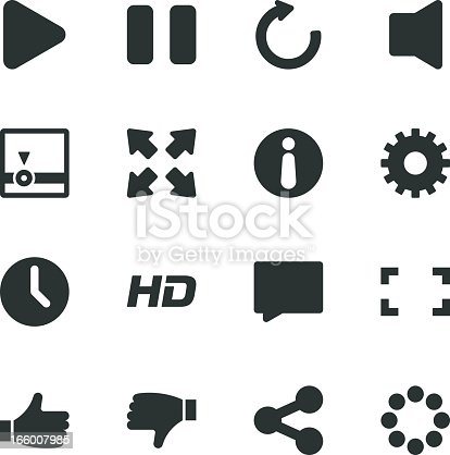 Video Streaming Player Silhouette Vector File Icons.
