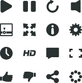 Video Streaming Player Silhouette Icons
