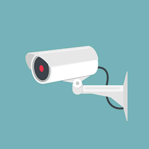 ilustrações de stock, clip art, desenhos animados e ícones de vídeo vigilância, câmara de videovigilância de circuito fechado. ilustração vetorial - video