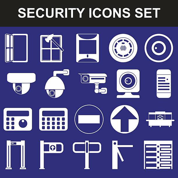 video-überwachung metall und wecker rauchmelder drehkreuze richtung haupteingang - infrarotfotografie stock-grafiken, -clipart, -cartoons und -symbole