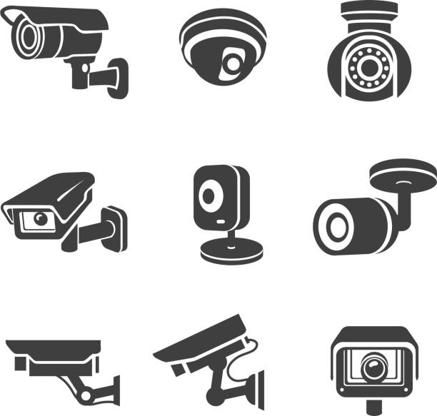 video surveillance security cameras graphic icon pictograms set - keşif stock illustrations