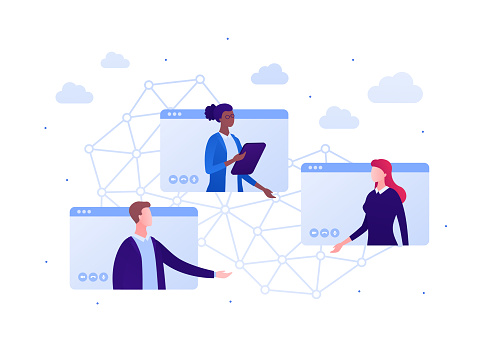 Video teleconference and remote online meeting concept. Vector flat person illustration. Group of multiethnic male and female businessman. Global communication network sign. Design for banner, web.