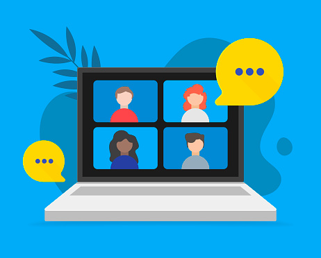 Video teleconference and remote online meeting concept. Vector flat person illustration.