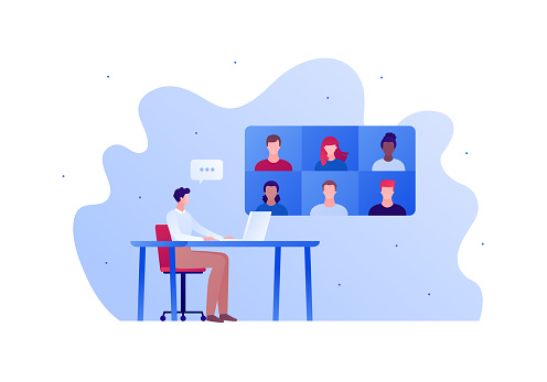 Video teleconference for home education or friend party concept. Vector flat person illustration. Group of people avatar on screen. Male sitting on desk with laptop. Speech bubble. Design element.