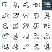 A set of video icons that include editable strokes or outlines using the EPS vector file. The icons include a hand pressing the play button on an online video, a person with video camera, person holding out phone with video on screen, video camera, person watching a video on laptop while wearing headphones, smartphone screen with play button, tablet PC with play button on screen, person watching a video on mobile phone while wearing earphones, person recording video on themselves, couple watching a video together on smartphone, video streamed to television, video of a person dancing, and a person watching a video on a desktop computer to name a few.