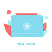 istock Video Tutorial and Video Player Template Flat Design. Webinar, Online Training and Online Tutorial Concept Vector Illustration. 1245126078