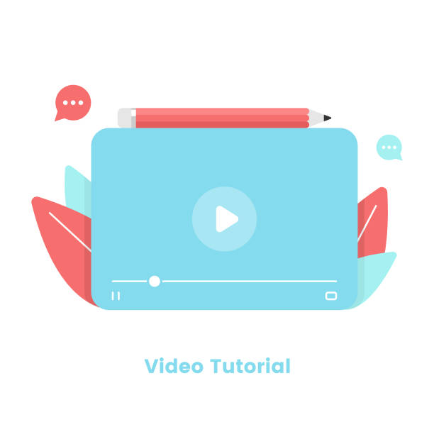 stockillustraties, clipart, cartoons en iconen met flatontwerp voor video-zelfstudie en videospelersjabloon. webinar, online training en online tutorial concept vector illustratie. - youtube