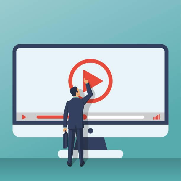 video tutorial-konzept - zusehen stock-grafiken, -clipart, -cartoons und -symbole