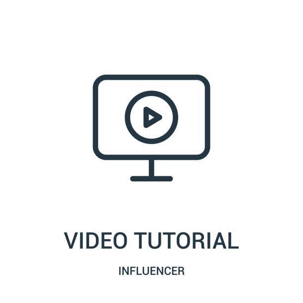 stockillustraties, clipart, cartoons en iconen met video tutorial icoon vector van beïnvloeder collectie. dunne lijn video tutorial overzicht icoon vector illustratie. - youtube