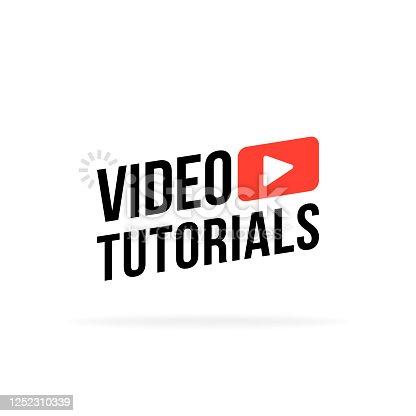 Video tutorial vector icon. Webinar training online video tutorial marketing flat media.