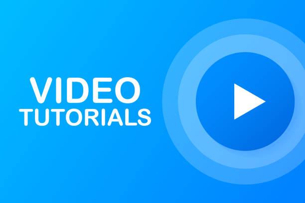stockillustraties, clipart, cartoons en iconen met video tutorials knop, icoon, embleem, label. vector illustratie - youtube