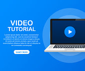 Video tutorials icon concept. Study and learning background, distance education and knowledge growth. Video conference and webinar icon, internet and video services. Vector stock illustration.