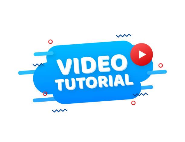 stockillustraties, clipart, cartoons en iconen met video tutorials icon concept. studie- en leerachtergrond, afstandsonderwijs en kennisgroei. videoconferentie- en webinarpictogram, internet- en videodiensten. vectorillustratie. - youtube