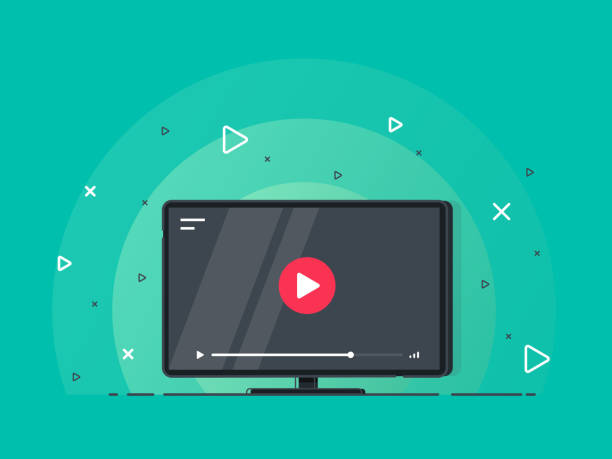 Video tutorials icon concept. Video conference and webinar icon, internet and video services. Trendy flat vector on green background. Vector Illustration. broadcasting stock illustrations