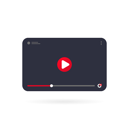 Video tutorials icon concept. Video conference and webinar on tablet. Template interface video player. Vector on isolated white background. EPS 10