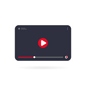 istock Video tutorials icon concept. Video conference and webinar on tablet. Template interface video player. Vector on isolated white background. EPS 10 1283843122