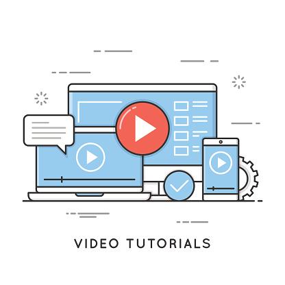 Video tutorials, online training and learning, webinar, distance education. Editable stroke.