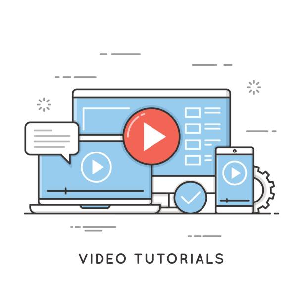video tutorials, online training and learning, webinar, distance education. editable stroke. - online learning stock illustrations