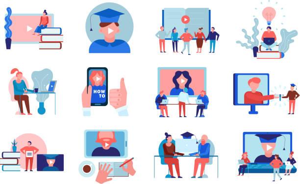 Video-Tutorials Online-Schulungen gesetzt – Vektorgrafik