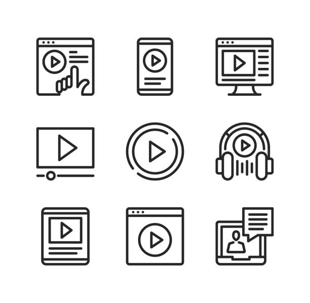 Video vector line icons. Streaming service, online cinema, mobile app, watching video on website, podcasting concepts. Simple outline symbols, modern linear graphic elements collection. Premium quality. Vector thin line icons set vector art illustration