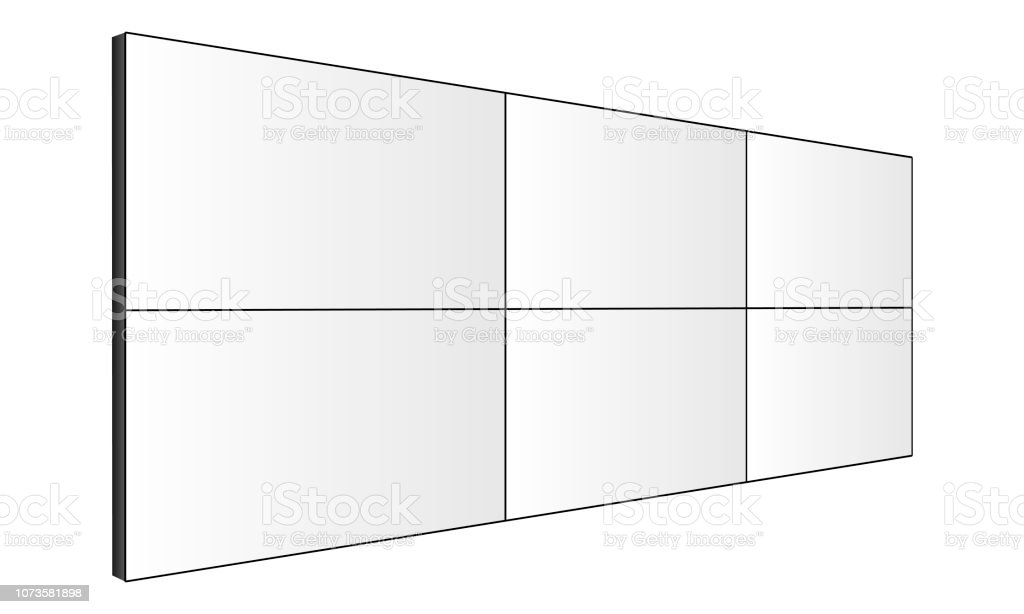 Lcd Video Wall Mockup Perspective Side View Stock