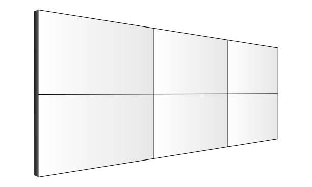 LCD video wall mockup - perspective side view LCD video wall mockup - perspective side view. Vector illustration projection screen stock illustrations