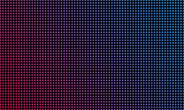 led wideo ściany tekstury tła ekranu. wektor niebieski i czerwony fioletowy kolor światło dioda led dot siatki ekranu wideo - efekty fotograficzne stock illustrations