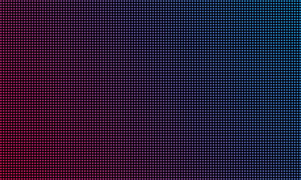 LED video wall screen texture background. Vector blue and red purple color light LED diode dot grid video screen LED video wall screen texture background. Vector blue and red purple color light LED diode dot grid video screen liquid crystal display stock illustrations