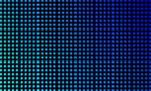 led video wall screen texture background. vector blue light led diode gradient, digital video screen - предельно крупный план stock illustrations