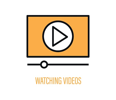 Video watch button. Isolated vector illustration. Web button.