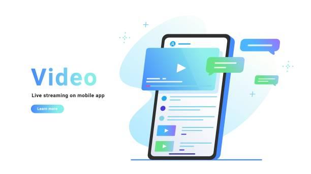 videobeobachtung und live-streaming in der mobilen app - storytelling grafiken stock-grafiken, -clipart, -cartoons und -symbole