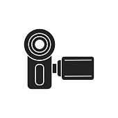 istock Videocamera black glyph icon. Electronic device. Video recording equipment. Pictogram for web page, mobile app, promo. UI UX GUI design element. 1280221457