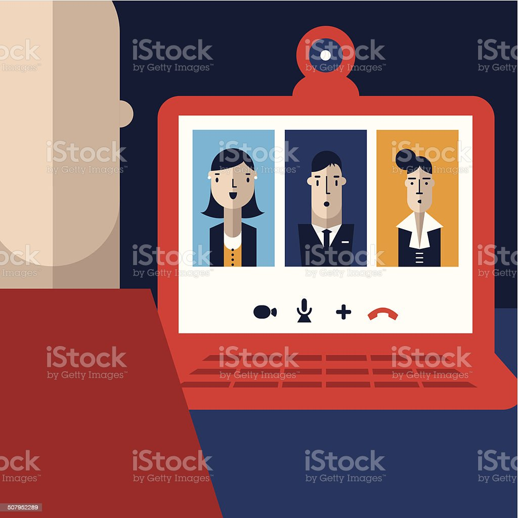 Videoconference vector art illustration
